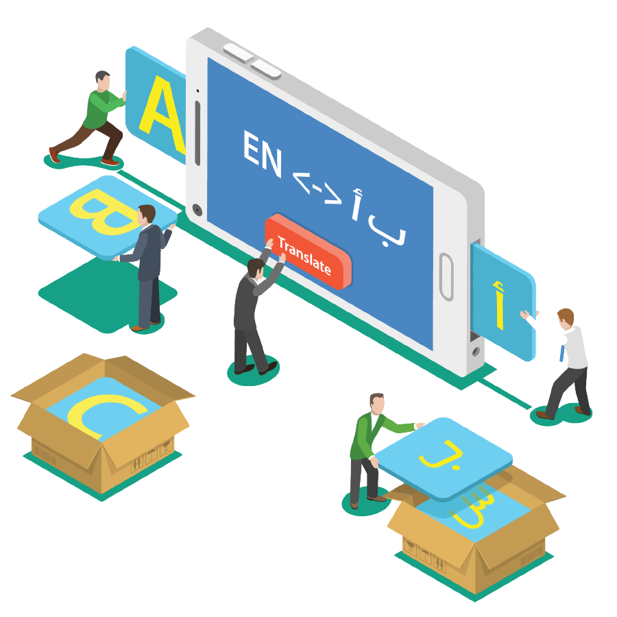 Vertimo lokalizavimo proceso iliustracija