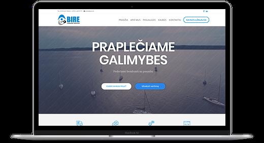 Vertimų biuro BIRE pagrindinis svetainės puslapis